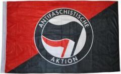"""Zur Fahne / Flagge (ca. 150x100cm) """"Schwarz/rote Fahne mit Antifa-Logo (schwarz/rot)"""" für 12,67 € gehen."""