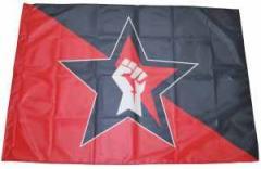 """Zur Fahne / Flagge (ca. 150x100cm) """"Stern Faust (schwarz/roter Hintergrund)"""" für 13,00 € gehen."""