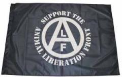 """Zur Fahne / Flagge (ca. 150x100cm) """"support the Animal Liberation Front (schwarz)"""" für 12,67 € gehen."""