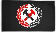 """Zur Fahne / Flagge (ca. 150x100cm) """"Working Class Hammer (rot/schwarz)"""" für 16,00 € gehen."""