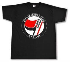"""Zum T-Shirt """"Antifaschistische Aktion - linksjugend [´solid]"""" für 15,00 € gehen."""