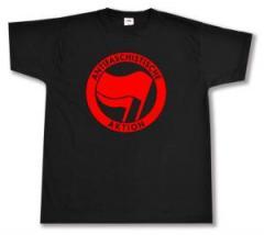 """Zum T-Shirt """"Antifaschistische Aktion (rot/rot)"""" für 12,67 € gehen."""
