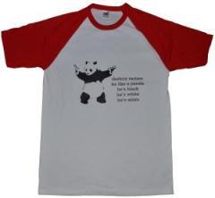 """Zum T-Shirt """"destroy racism - be like a panda"""" für 12,67 € gehen."""