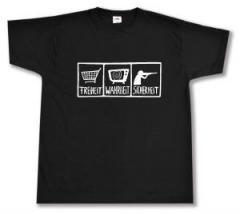 """Zum T-Shirt """"Freiheit - Wahrheit - Sicherheit"""" für 13,00 € gehen."""