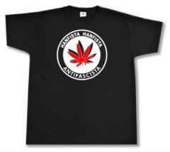 """Zum T-Shirt """"Hanfista Hanfista Antifascista"""" für 12,00 € gehen."""