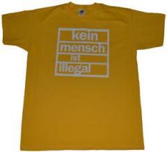 """Zum T-Shirt """"Kein Mensch ist Illegal (weiß/gelb)"""" für 13,00 € gehen."""