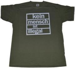 """Zum T-Shirt """"Kein Mensch ist Illegal (weiß/olivgrün)"""" für 12,00 € gehen."""