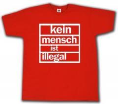 """Zum T-Shirt """"Kein Mensch ist Illegal (weiß/rot)"""" für 12,67 € gehen."""