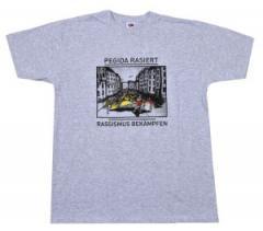 """Zum T-Shirt """"PEGIDA rasiert - Rassismus bekämpfen"""" für 16,47 € gehen."""