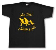 """Zum T-Shirt """"Refugees welcome (arabisch)"""" für 13,00 € gehen."""