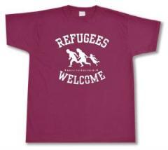 """Zum T-Shirt """"Refugees welcome (burgund, weißer Druck)"""" für 13,00 € gehen."""