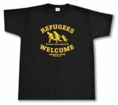 """Zum T-Shirt """"Refugees welcome Linksjugend"""" für 15,00 € gehen."""