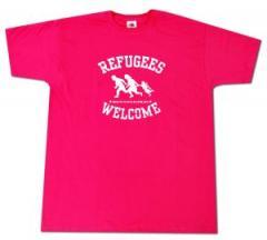 """Zum T-Shirt """"Refugees welcome (pink, weißer Druck)"""" für 12,00 € gehen."""