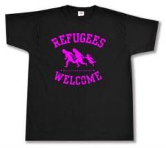 """Zum T-Shirt """"Refugees welcome (pink)"""" für 12,00 € gehen."""
