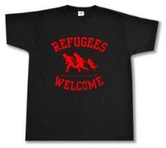 """Zum T-Shirt """"Refugees welcome (rot)"""" für 13,00 € gehen."""