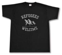 """Zum T-Shirt """"Refugees welcome (schwarz/grauer Druck)"""" für 12,67 € gehen."""