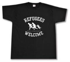 """Zum T-Shirt """"Refugees welcome (weiß)"""" für 12,67 € gehen."""