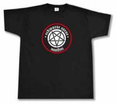 """Zum T-Shirt """"Schwarze Szene Nazifrei - Weißes Pentagramm"""" für 14,62 € gehen."""