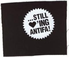 """Zum Aufnäher """"... still loving antifa"""" für 1,10 € gehen."""