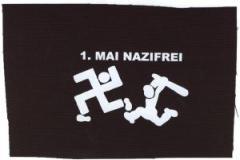 """Zum Aufnäher """"1. Mai Nazifrei"""" für 1,50 € gehen."""