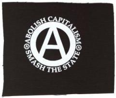 """Zum Aufnäher """"abolish capitalism - smash the state"""" für 1,50 € gehen."""
