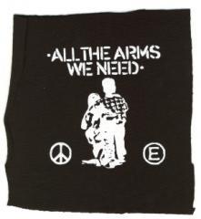 """Zum Aufnäher """"All the Arms we need"""" für 1,50 € gehen."""