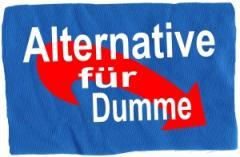 """Zum Aufnäher """"Alternative für Dumme"""" für 1,50 € gehen."""