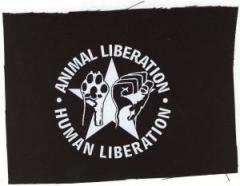 """Zum Aufnäher """"Animal Liberation - Human Liberation (mit Stern)"""" für 1,10 € gehen."""