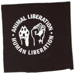 """Zum Aufnäher """"Animal Liberation - Human Liberation"""" für 1,10 € gehen."""