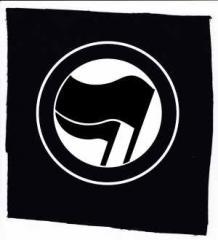 """Zum Aufnäher """"Antifaschistische Aktion (schwarz/schwarz) ohne Schrift"""" für 1,10 € gehen."""