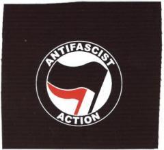 """Zum Aufnäher """"Antifascist Action (schwarz/rot)"""" für 1,50 € gehen."""