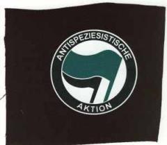 """Zum Aufnäher """"Antispeziesistische Aktion (grün/schwarz)"""" für 1,50 € gehen."""