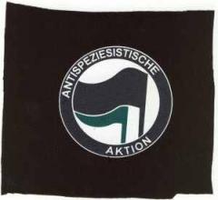 """Zum Aufnäher """"Antispeziesistische Aktion (schwarz/grün)"""" für 1,50 € gehen."""