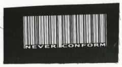 """Zum Aufnäher """"Barcode - Never conform"""" für 1,50 € gehen."""