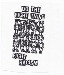 """Zum Aufnäher """"Do the right thing - fight racism"""" für 1,46 € gehen."""