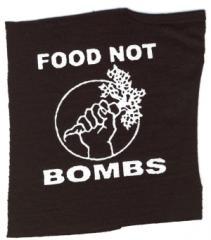 """Zum Aufnäher """"Food Not Bombs"""" für 1,50 € gehen."""