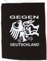 """Zum Aufnäher """"Gegen Deutschland"""" für 1,50 € gehen."""