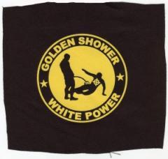 """Zum Aufnäher """"Golden Shower white power"""" für 1,10 € gehen."""