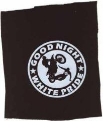 """Zum Aufnäher """"Good night white pride - Motorrad"""" für 1,50 € gehen."""