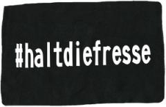 """Zum Aufnäher """"#haltdiefresse"""" für 1,10 € gehen."""