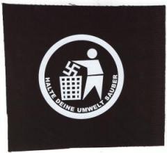 """Zum Aufnäher """"Halte Deine Umwelt sauber"""" für 1,50 € gehen."""