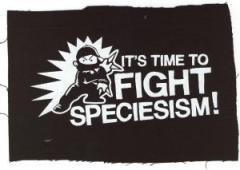 """Zum Aufnäher """"Its Time to Fight Speciesism"""" für 1,50 € gehen."""
