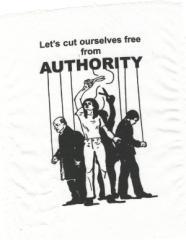 """Zum Aufnäher """"Let´s cut ourselves free from AUTHORITY"""" für 1,50 € gehen."""