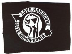 """Zum Aufnäher """"Love Hardcore - Hate Homophobia"""" für 1,50 € gehen."""
