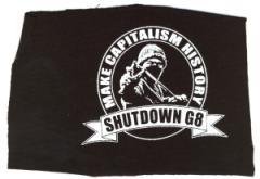 """Zum Aufnäher """"Make Capitalism History"""" für 1,10 € gehen."""