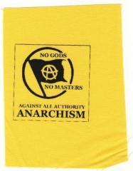 """Zum Aufnäher """"no gods no master - against all authority - ANARCHISM"""" für 1,50 € gehen."""
