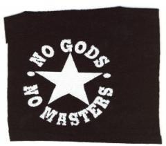 """Zum Aufnäher """"No gods no masters"""" für 1,50 € gehen."""