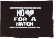 """Zum Aufnäher """"No heart for a nation"""" für 1,50 € gehen."""