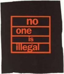 """Zum Aufnäher """"no one is illegal"""" für 1,50 € gehen."""