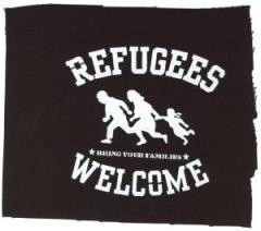 """Zum Aufnäher """"Refugees welcome"""" für 1,50 € gehen."""